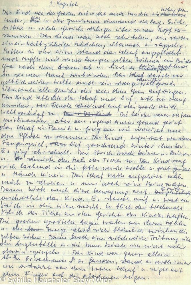 """Manuskript zu """"Himmel der nirgendwo endet, Braunes Notizbuch, S. 2 (aus dem Katalog """"Ich möchte wissen wo ich hingekommen bin!""""). Copyright Sybille Haushofer Steyr/Wien"""