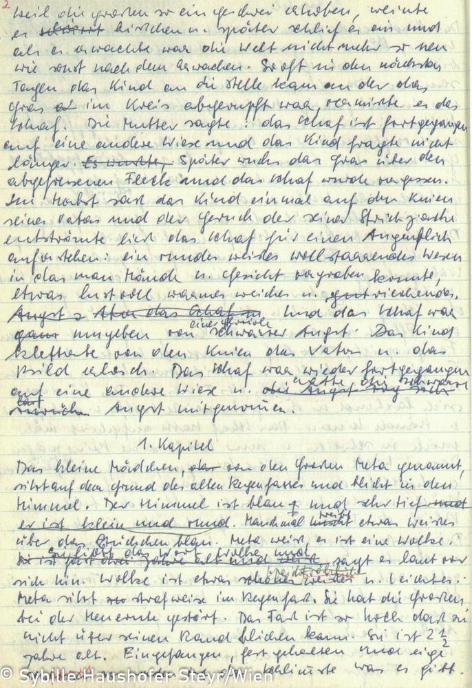 """Manuskript zu """"Himmel der nirgendwo endet, Braunes Notizbuch, S. 1 (aus dem Katalog """"Ich möchte wissen wo ich hingekommen bin!""""). Copyright Sybille Haushofer Steyr/Wien"""