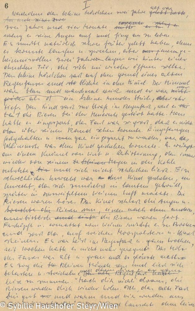 """Manuskript zu """"Himmel der nirgendwo endet, Schwarzes Notizbuch, S. 6 (aus dem Katalog """"Ich möchte wissen wo ich hingekommen bin!""""). Copyright Sybille Haushofer Steyr/Wien"""
