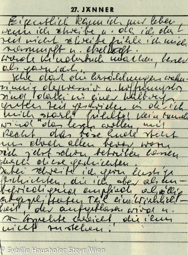"""Tagebuchauszug aus dem Tagebuch Marlen Haushofers, 27. Januar 1967 (aus dem Katalog """"Ich möchte wissen wo ich hingekommen bin!""""). Copyright Sybille Haushofer Steyr/Wien"""