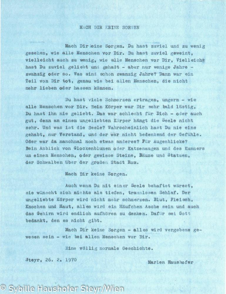 Typoskript der letzten Tagebucheintragung