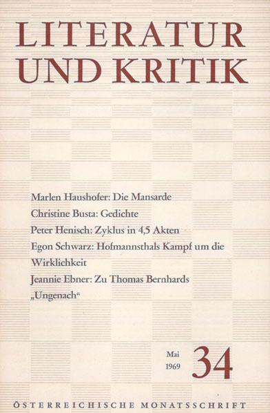 Literatur und Kritik Mai 1969