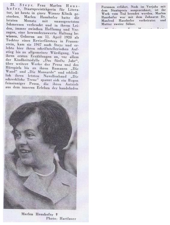 Zeitungsbericht zu Marlen Haushofers Tod
